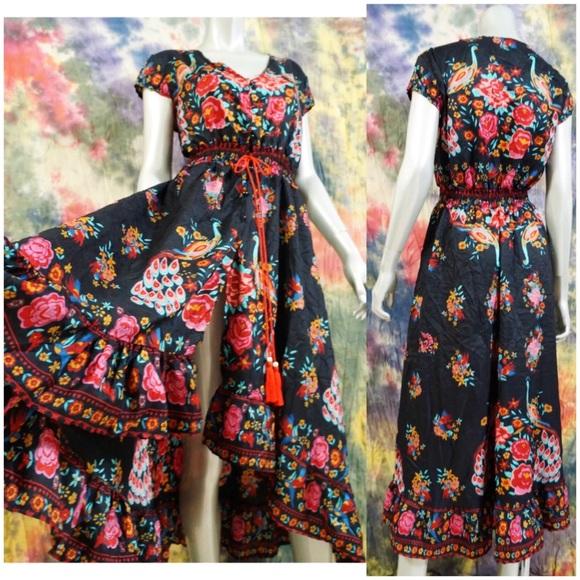 f3524a77e Gypsy Black Maxi Dress Floral Peacock Boho Hippie.  M_5b80ab5481bbc8e8cb435c5d